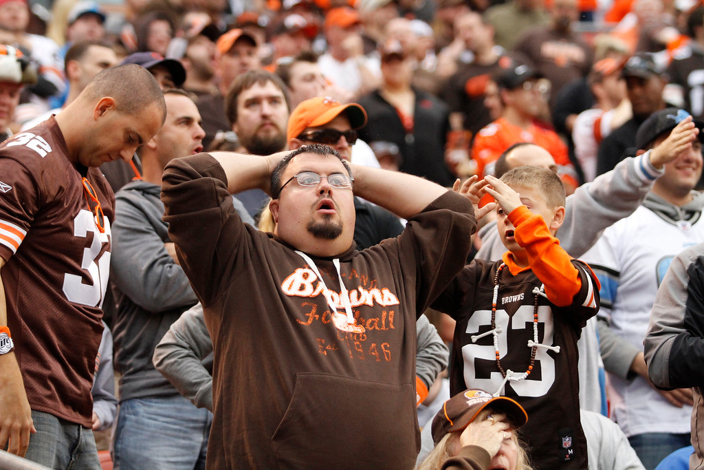. Sam Greene/The Morning Journal Browns fans react to a Lions touchdown in the first quarter quarter of the NFL week six game between the Cleveland Browns and Detroit Lions at FirstEnergy Stadium in Cleveland, Ohio, on Sunday, Oct. 13, 2013. The Lions defeated the Browns 31-17, pushing the Browns record to 3-3.