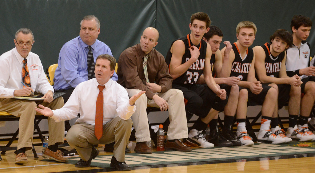 . Maribeth Joeright/MJoeright@News-Herald.com<p> Chagrin Falls coach Dave Bargar questions a call during the Division II district final game against Lake Catholic, March 8, 2014.