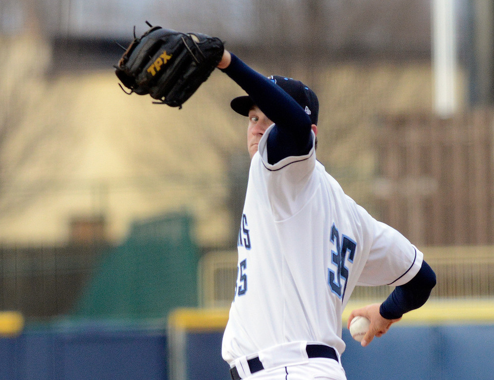 . Maribeth Joeright/MJoeright@News-Herald.com<p> Lake County Captains starting pitcher Dace Kime throws the first pitch against the Lansing Lugnuts during the home opener at Classic Park.