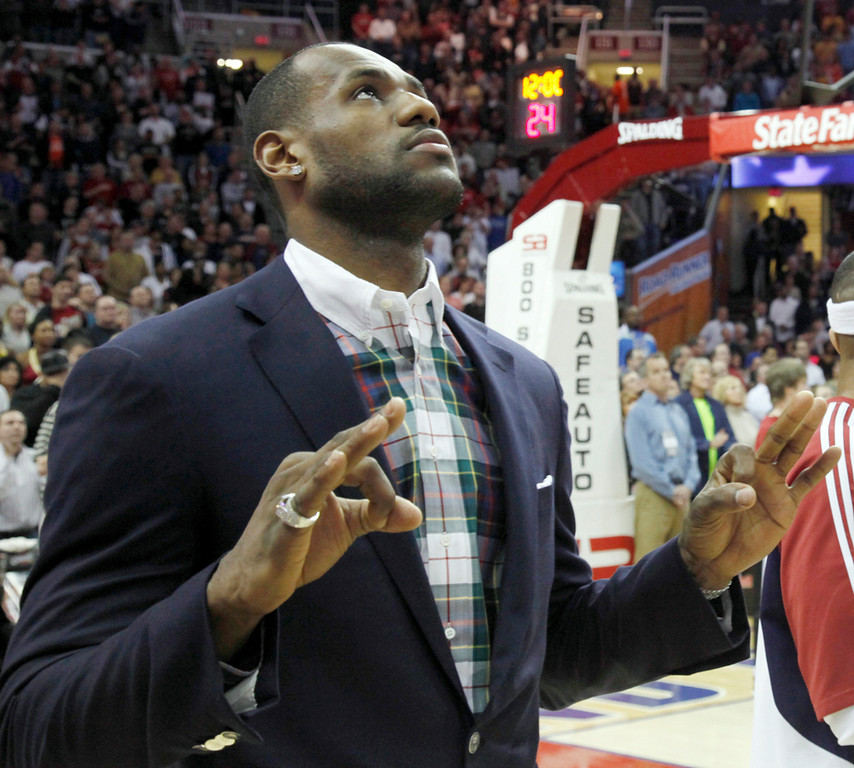 . Michael Blair@News-Herald.com The Cavs LeBron James has a Zen moment prior to the start of the Wednesday\'s game versus the 76er\'s at the Q.