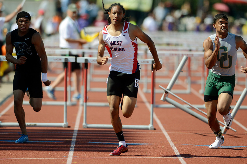 . Maribeth Joeright/MJoeright@News-Herald.com <p> West Geauga\'s Paedyn Gomes races for the finish line to finish fifth in the Division I boys 110 meter hurdles during the state track and field championship meet in Columbus,  June 7, 2014.