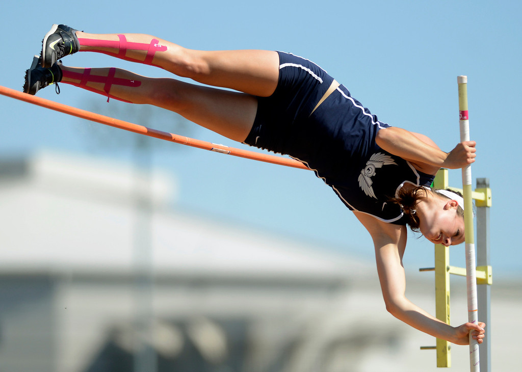 """. Maribeth Joeright/MJoeright@News-Herald.com <p> West Geauga\'s Audrey Rabe had her best jump of 12\'3\"""" in the Division I girls pole vault during the state track and field championship meet in Columbus,  June 7, 2014."""