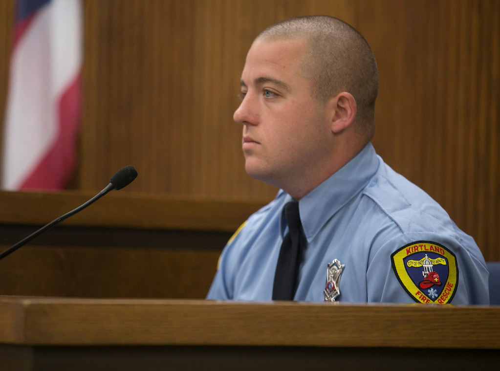 . Michael Allen Blair/MBlair@News-Herald.com Kirtland paramedic/firefighter Tommy Smith testifies on the condition of Sabrina Zunich on the night of the murder of Lisa Knoefel in November of 2012. Smith took the stand during day two of Kevin Knoefel\'s murder conspiracy trial in Lake County Common Pleas Court on  June 3, 2014.