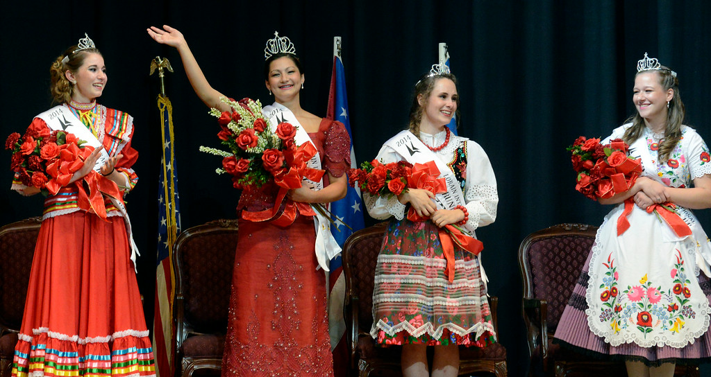 . Maribeth Joeright/MJoeright@News-Herald.com <p> Colleen Ziegman, Filipino Princess, center, waves after being named the winner of the 48th annual Lorain International Princess Pageant, June 26, 2014. She is surrounded by her court, third runner up Onyx Lopez, Mexico, left, first runner up, Anastazja Golab, Poland, second from right and second runner up Rachel Kozma, Hungary, far right.