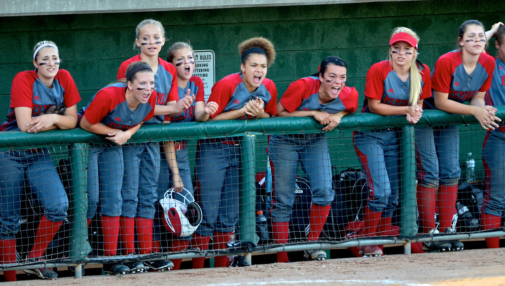 . Jeff Forman/JForman@News-Herald.com Elyria players cheer on their teammates late into the game.