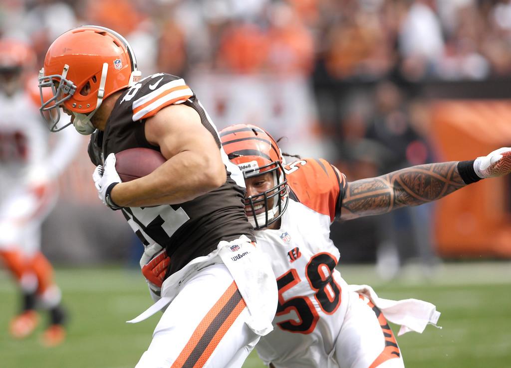 . Jeff Forman/JForman@News-Herald.com Browns wide receiver Jordan Cameron tries to elude Bengals defender Rey Maaluga during the  Browns\' win Sunday at FirstEnergy Stadium.