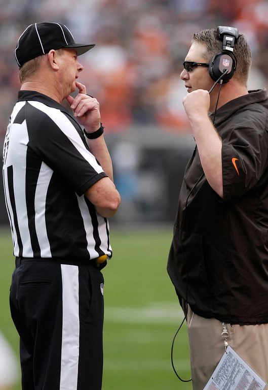 . Jeff Forman/JForman@News-Herald.com Browns coach rob Chudzinski discusses a call with an official in the third quarter of the Browns\' win over the Bengals Sunday at FirstEnergy Stadium.