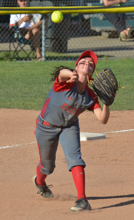 . Jeff Forman/JForman@News-Herald.com Elyria third baseman Dierra Hammons throws the runner out at first base in the first inning of the Pioneer\'s 9-1 state semi final loss June 5 at Firestone Stadium in Akron.
