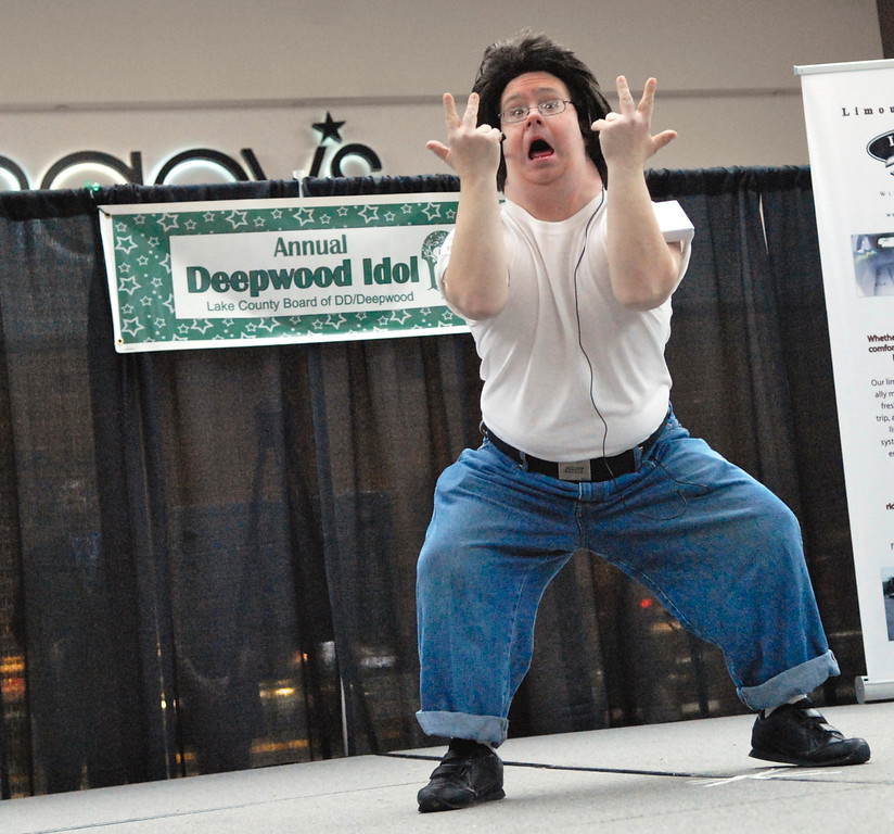 """. Jeff Forman/JForman@News-Herald.com Barry Jarrell performs \""""Greased Lightning\"""" at the Deepwood Idol Show March 29 at the Great Lakes Mall. The show was presented by the Lake County Board of Developmental Disabilities/Deepwood."""