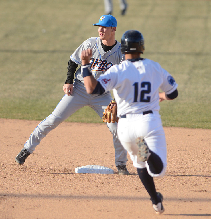 . Maribeth Joeright/MJoeright@News-Herald.com<p> Captains baserunner Josh McAdams is forced out at second base during an exhibition game against the Akron Rubberducks.