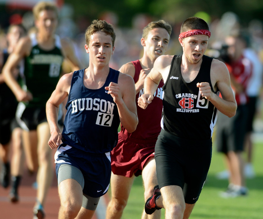 . Maribeth Joeright/MJoeright@News-Herald.com <p> Chardon\'s Nick Elswick runs slightly ahead of Hudson\'s Kyle Mau in the boys 3200 meter run during the state track and field championship meet in Columbus, June 7, 2014. Elswick surged in the last 400 meters to win the race.