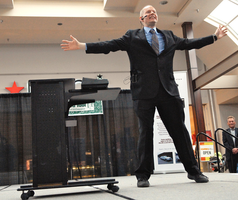 """. Jeff Forman/JForman@News-Herald.com Christopher Dabson performs \""""I\'m Still Standing\"""" at the Deepwood Idol Show March 29 at the Great Lakes Mall. The show was presented by the Lake County Board of Developmental Disabilities/Deepwood."""
