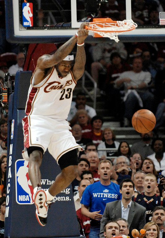 . Jeff Forman/JForman@News-Herald.com LeBron James ends the first quarter with a dunk Thursday in game two of the eastern conference semifinal Thursday at Quicken Loans Arena.