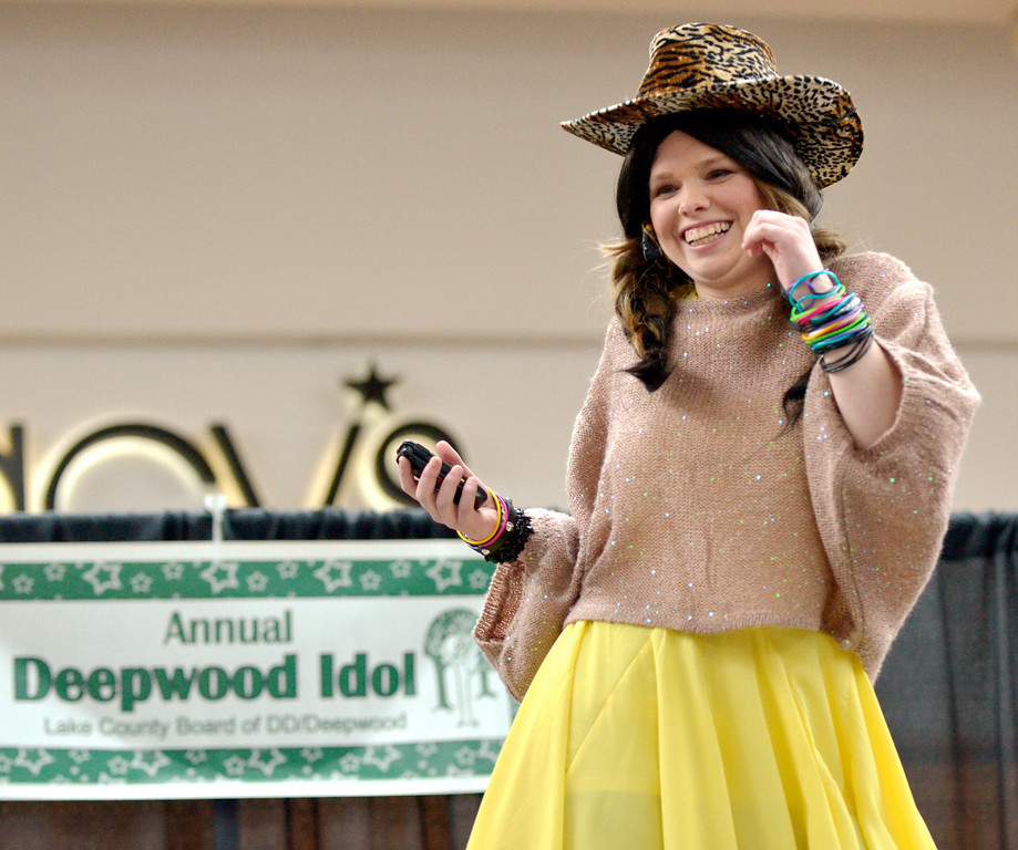 """. Jeff Forman/JForman@News-Herald.com Tina Baster sings \""""Call Me Maybe\"""" at the Deepwood Idol Show March 29 at the Great Lakes Mall. The show was presented by the Lake County Board of Developmental Disabilities/Deepwood."""