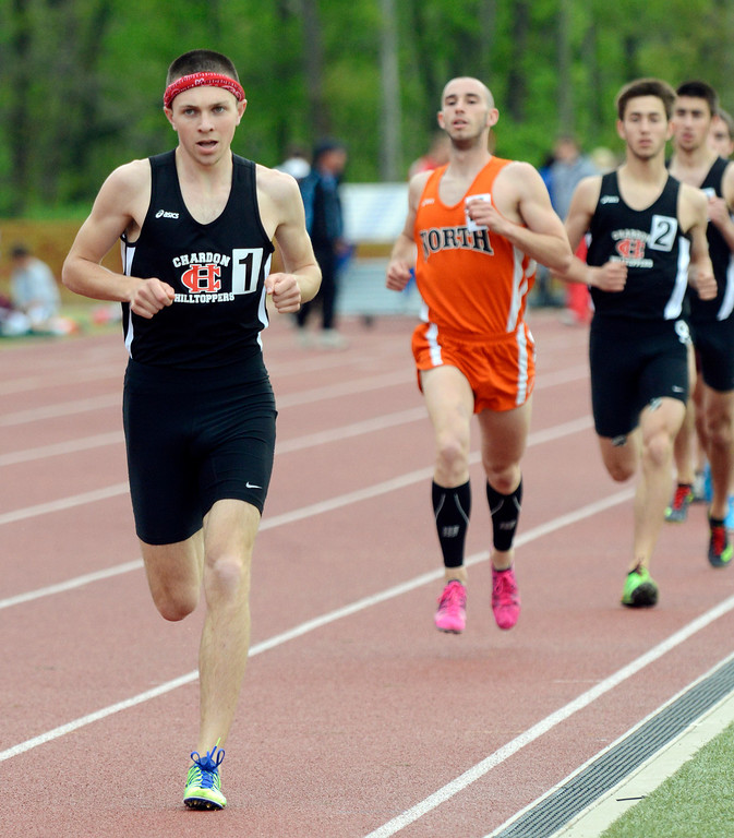 . Maribeth Joeright/MJoeright@News-Herald.com<p> Chardon\'s Nick Elswick leads the field and eventually wins the boys 1600 meter run during the PAC meet in Geneva.