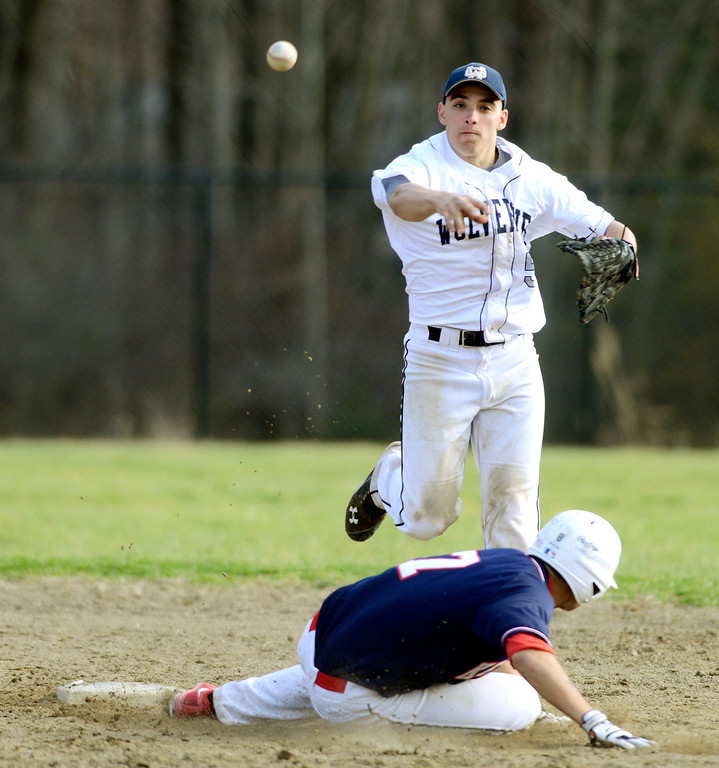 . Maribeth Joeright/MJoeright@News-Herald.com<p> Kenston\'s Peter Rozman is forced out at second base as West Geauga\'s Andrew Centrackio goes for the double play April 22, 2014. Kenston beat West Geauga by a score of 16-3.