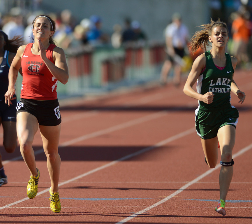 . Maribeth Joeright/MJoeright@News-Herald.com <p> Chardon\'s Stephanie Ferrante and Lake Catholic\'s Frances Bull battle for third place in the Division I girls 400 meter dash during the state track and field championship meet in Columbus, June 7, 2014. Bull edged out Ferrante for third, Ferrante took fourth.