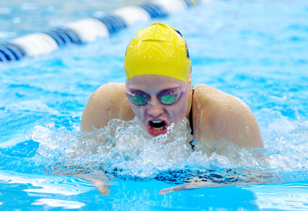 . Jeff Forman/JForman@News-Herald.com Sam Lisy, Euclid, does the breastroke as she wins her heat of the 200 yard individual medley Saturday at the Division I sectional swim meet at Squire Institute.
