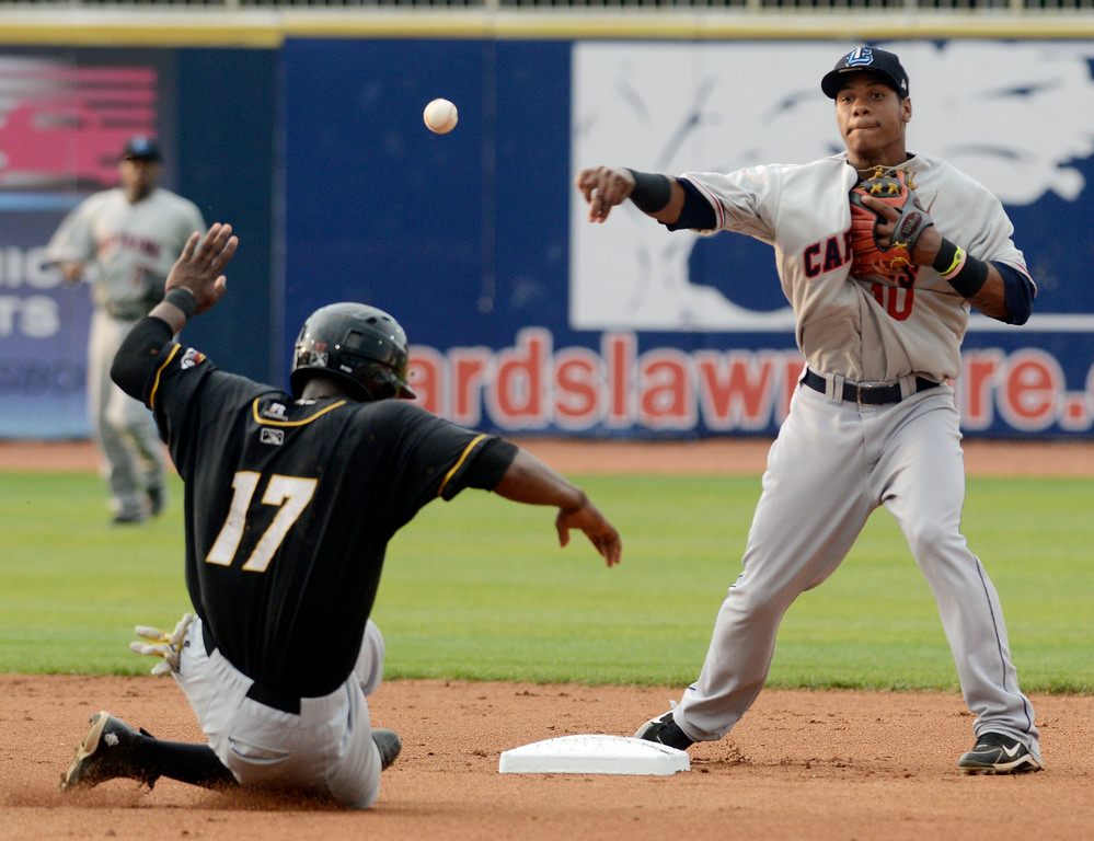 . Duncan Scott/DScott@News-Herald.com The Lake County Captains Claudio Bautista forces Alexander Simon of the Bowling Green Hot Rods at second as he turns a double play in the second inning.