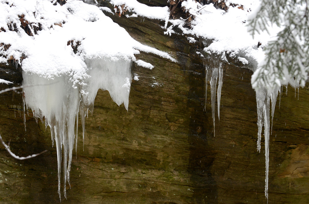 . Maribeth Joeright/MJoeright@News-Herald.com Icycle formations are a draw for hikers visiting the gorge at Lake Metroparks Penitentiary Glen.