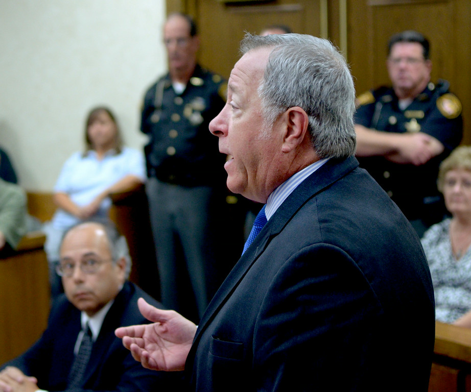 . Jeff Forman/JForman@News-Herald.com Defense attorney Michael Connick speaks during Kevin Knoefel\'s sentencing Aug. 6 in Lake County Common Pleas Court.