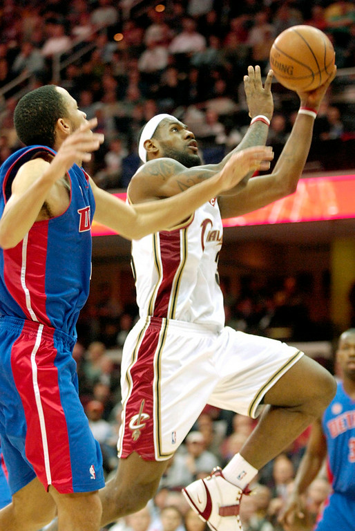 . Cavaliers forward LeBron James goes up for a basket during the third quarter Wednesday against the Pistons. James fell short of becoming  the Cavaliers leading scoring with 26 points scored during the game.