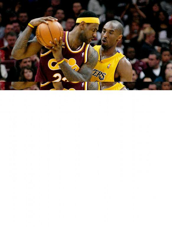 . Jeff Forman/JForman@News-Herald.com LeBron and Kobe, 1st half, Thursday at Quicken Loans Arena.