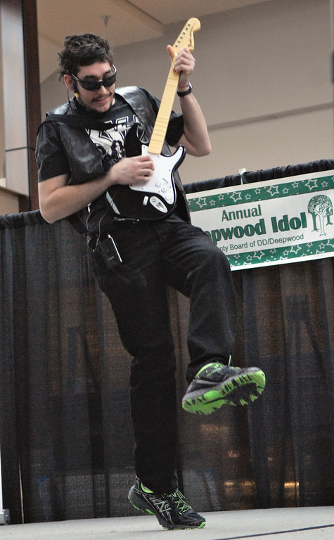 """. Jeff Forman/JForman@News-Herald.com Brendan Rosplock performs \""""Old Tiem Rock \'n Roll\"""" at the Deepwood Idol Show March 29 at the Great Lakes Mall. The show was presented by the Lake County Board of Developmental Disabilities/Deepwood."""