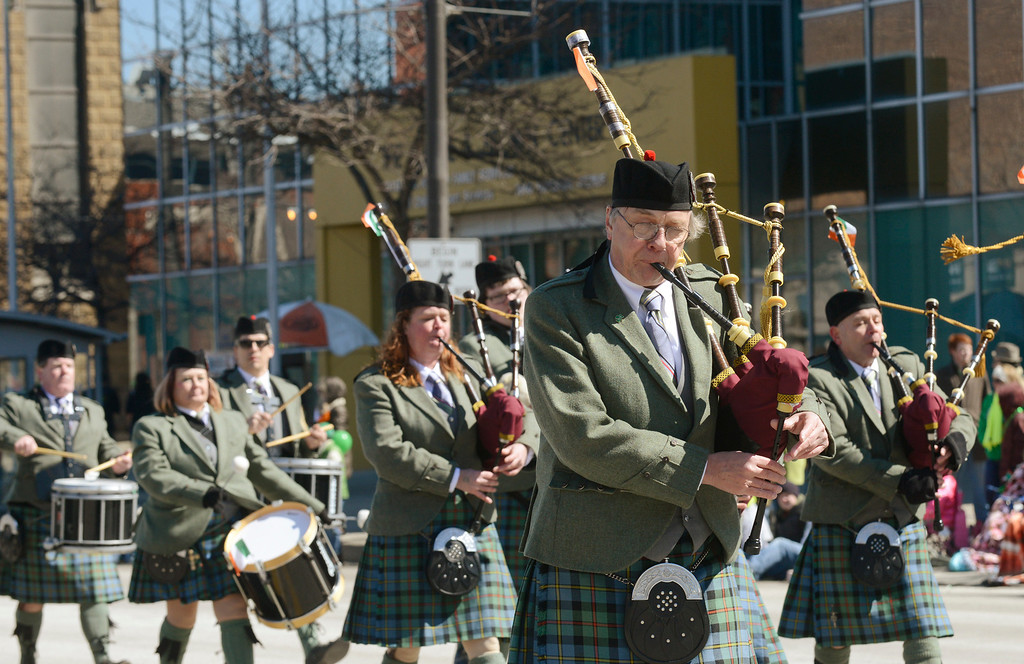. Maribeth Joeright/MJoeright@News-Herald.com Members of East Side Irish American Club Pipes and Drum Band in Euclid march in the 147th annual St. Patrick\'s Day parade in Cleveland, March 17, 2014.