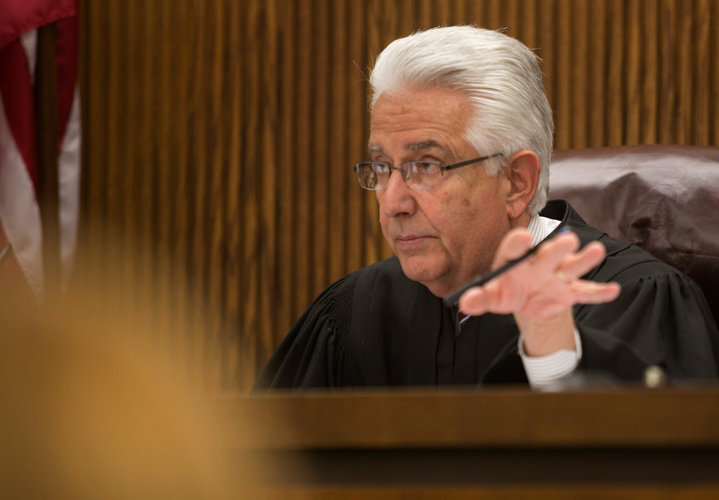 . Michael Allen Blair/MBlair@News-Herald.com Judge Joe Gibson over rules an objection by defese attorney Michael J. Connick during Kevin Knoefel\'s murder conspiracy trial in Lake County Common Pleas Court on  June 3, 2014.