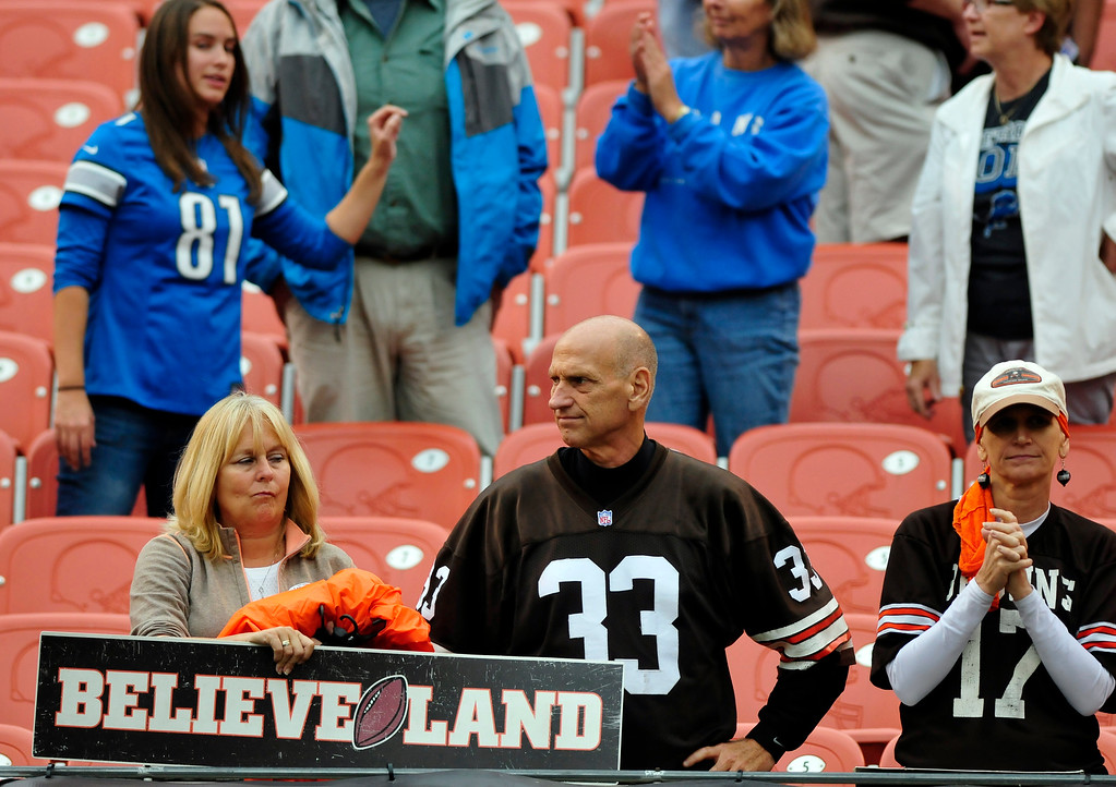 . Sam Greene/The Morning Journal Disappointed Browns fans remain in the stands as the players exit the field following Cleveland\'s loss in the NFL week six game between the Cleveland Browns and Detroit Lions at FirstEnergy Stadium in Cleveland, Ohio, on Sunday, Oct. 13, 2013. The Browns fell to 3-3 after a 31-17 loss to the Lions.