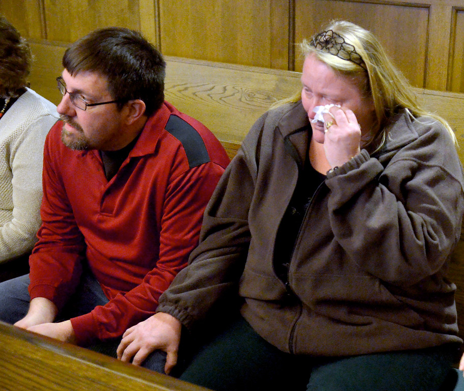 . Jeff Forman/JForman@News-Herald.com William Andrew Fayne Putzbach\'s  uncle and aunt, Alvin and Lori Bunch, of Painesville, listen in Lake County Common Pleas Court Feb. 21 as Nathaniel Brown is convicted on two counts and found innocent on 11 counts in Putzbach\'s killing in 2011.
