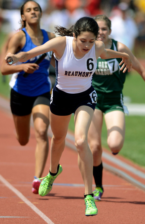 . Maribeth Joeright/MJoeright@News-Herald.com <p> The Beaumont girls 4X400 meter relay team takes third place in their event during the state track and field championship meet in Columbus,  June 7, 2014. Reba Bartram was the anchor in the race.