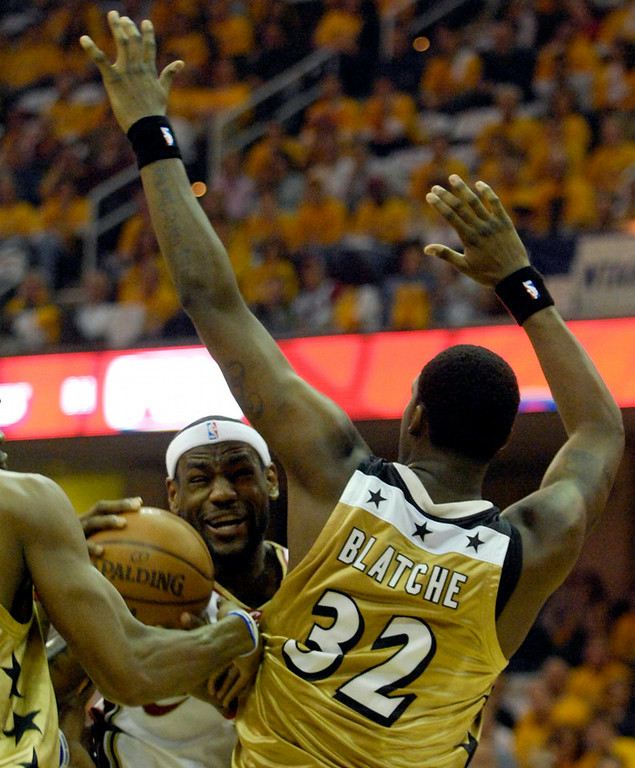 . Cavaliers forward LeBron James is fouled during the first quarter Monday against theh Wizards.