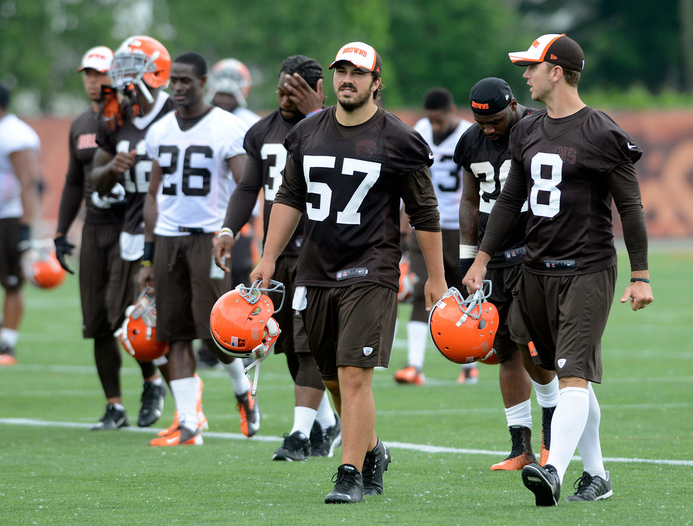. Maribeth Joeright/MJoeright@News-Herald.com <p> Browns players leave the field at the end of practice in Berea, June 10, 2014. in the foreground is Christian Yount (57) and Billy Cundiff.