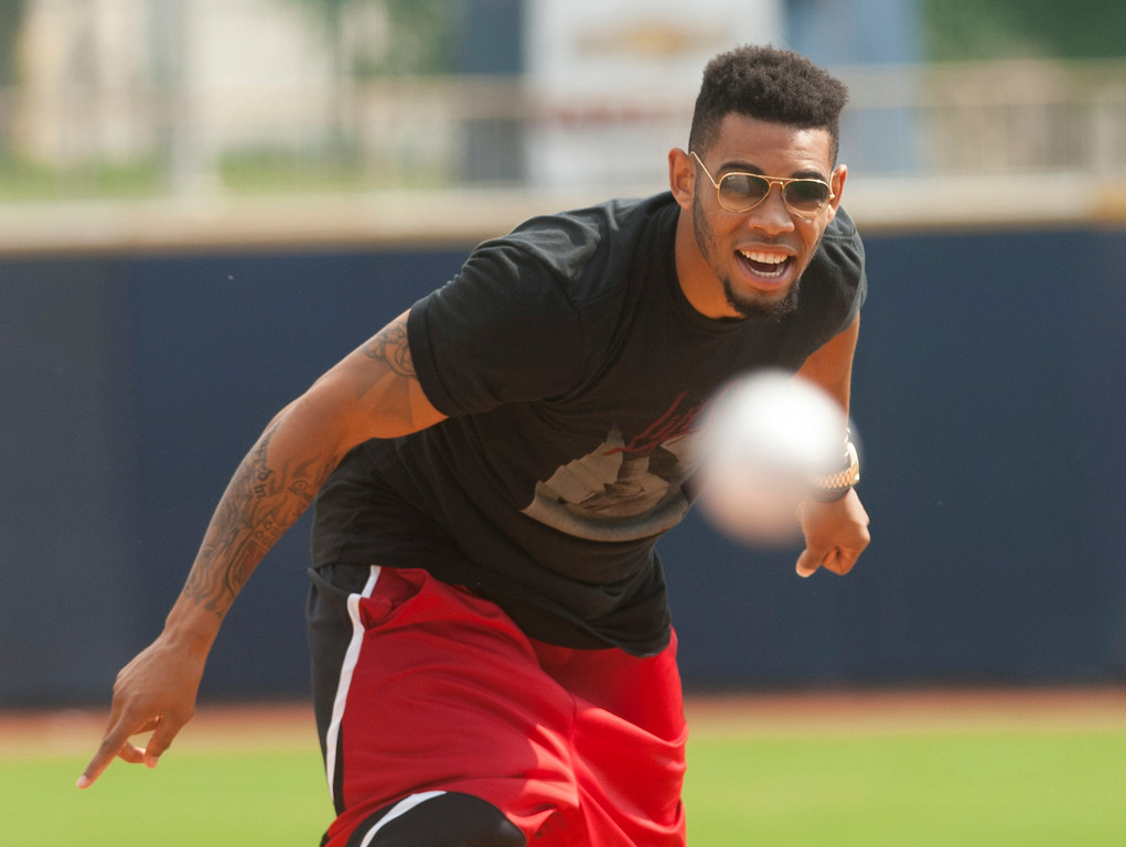 . Michael Allen Blair/MBlair@News-Herald.com Browns\' cornerback Joe Haden throws out the first pitch prior to the start of the Lake County Captains\' game versus the Lansing Lugnuts on July 9 at Classic Park. Haden was in town promoting the upcoming Joe Haden & Friends Softball Game on July 17 at Classic Park.