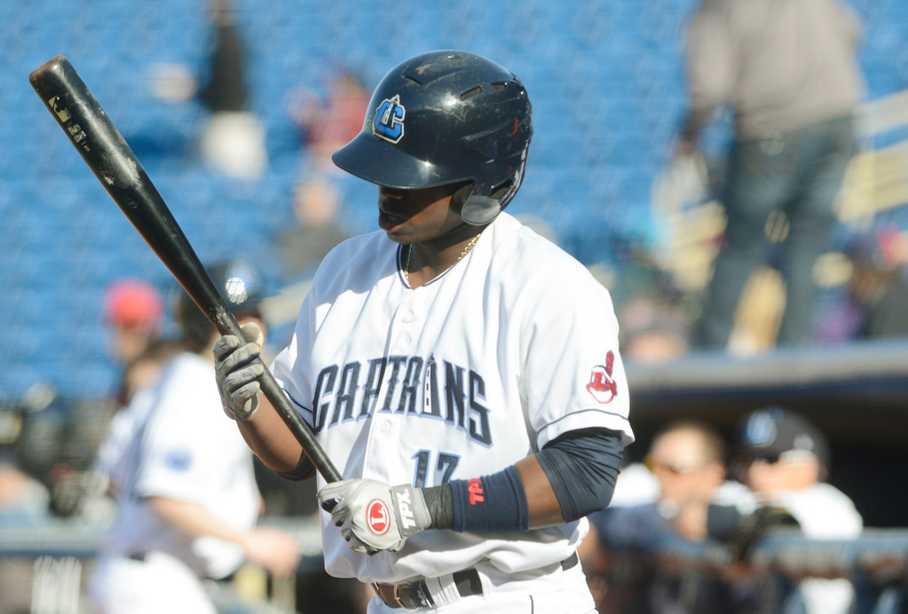 . Maribeth Joeright/MJoeright@News-Herald.com Captains Dorssys Paulino prepares for his first at bat during an exhibition game against the Akron Rubberducks at Classic Park, April 1, 2014.