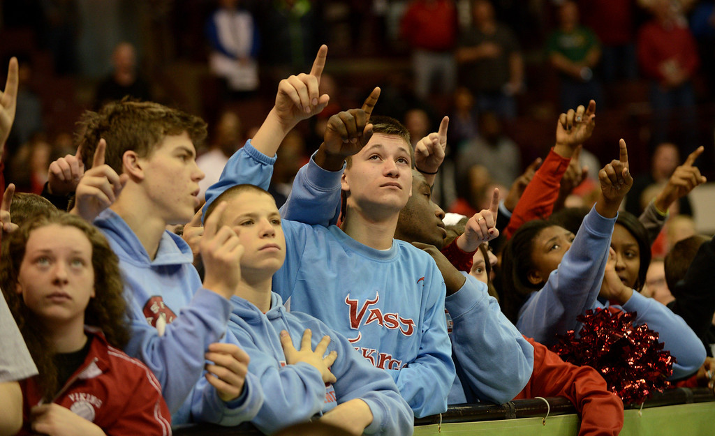 . Duncan Scott/DScott@News-Herald.com VASJ fans stand for the National Anthem. VASJ won the Division III state semifinal on March 21, 55-40, to advance to the state final on March 22.