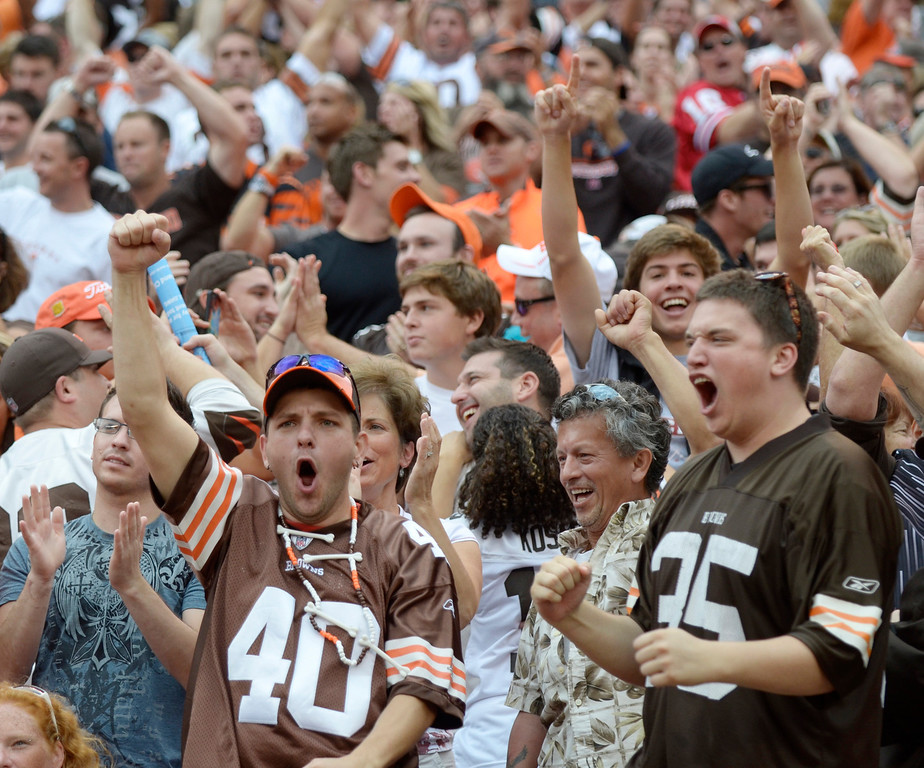 . Jeff Forman/JForman@News-Herald.com Browns fans cheer a fourth quarter touchdown against the Bengals.