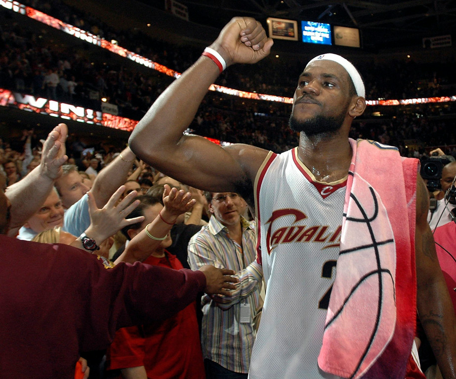 . MBlair Lebron leaves the court after winning Wednesday\'s game in OT.