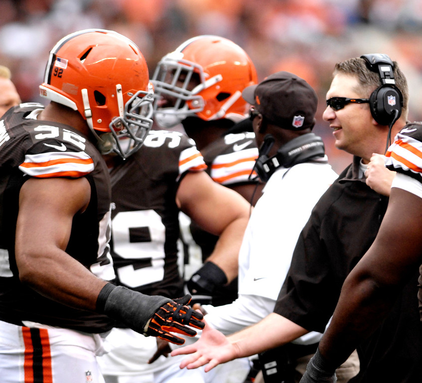 . Jeff Forman/JForman@News-Herald.com Browns coach Rob Chudzinski shakes hands with defensive lineman Desmond Bryant in the final minutes of the Browns win Sunday.
