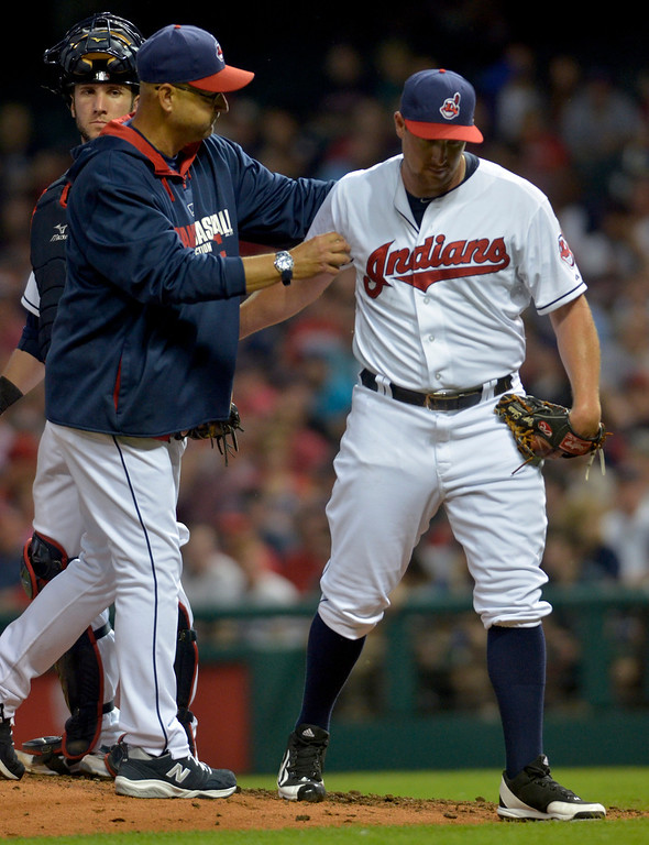 . Jeff Forman/JForman@News-Herald.com Tribe manager Terry Francona takes reliever Bryan Shaw out in the eighth inning of the Indians\' 3-2 win over the Red Sox June 2 at Progressive Field.