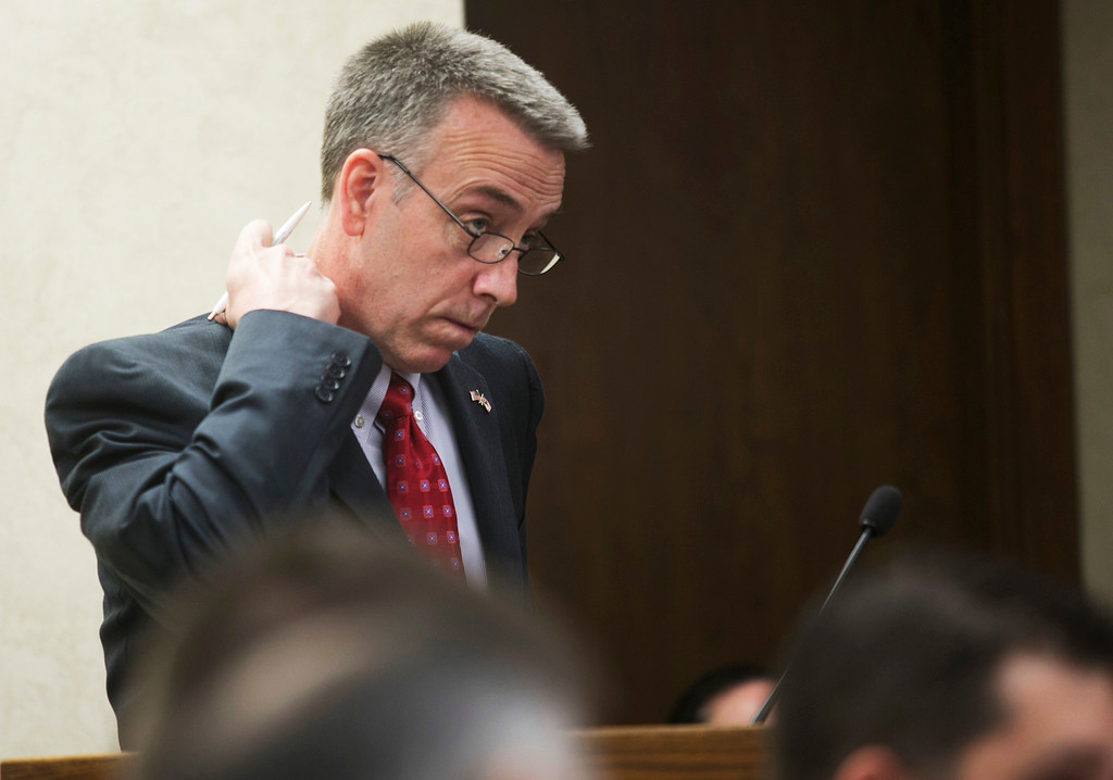 . Michael Allen Blair/MBlair@News-Herald.com Prosecutor John P. O\'Donnell examines a witness on day three of Kevin Knoefel\'s murder conspiracy trial on June 4, 2014.