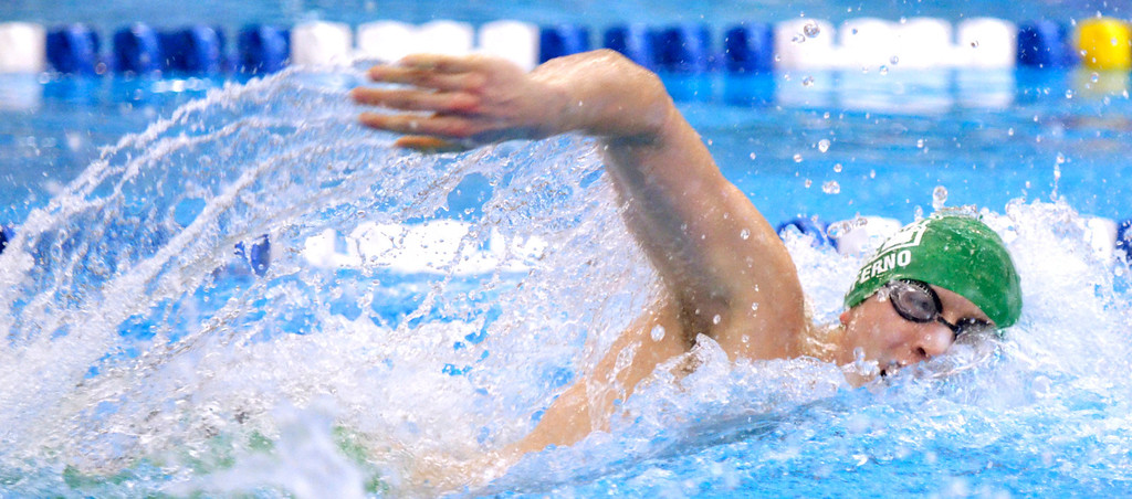 . Jeff Forman/JForman@News-Herald.com Justin Ciferno, Mayfield, wins his heat of the 100 yard freestyle Saturday at the Division I sectional swim meet at Squire Institute.
