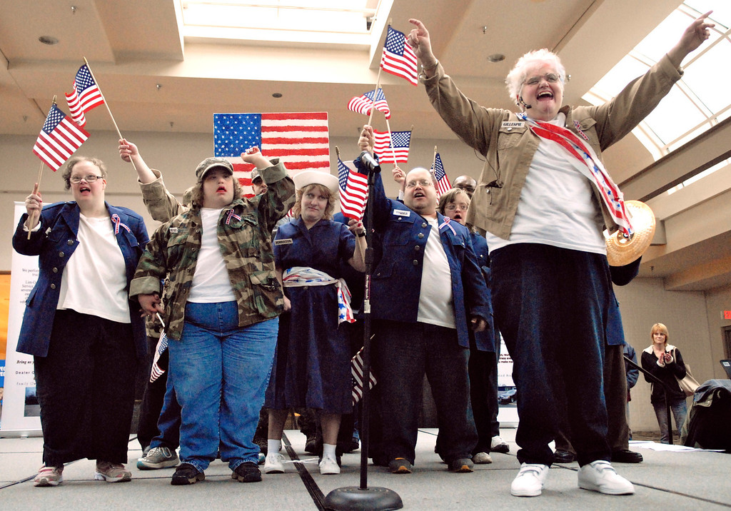 """. Jeff Forman/JForman@News-Herald.com The All American Group sings \""""God Bless the USA\"""" at the Deepwood Idol Show March 29 at the Great Lakes Mall. The group won first place honors for their performance. The show was presented by the Lake County Board of Developmental Disabilities/Deepwood."""